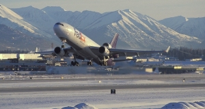 MD-11 on takeoff from Anchorage, Alaska